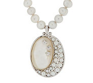 Honora Mother- of-Pearl &White Cultured Pearl Sterling Moon Enhancer - J277475