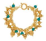 Veronese 18K Clad Average Turquoise Charm Bracelet - J278475