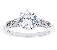 Epiphany Diamonique Round Solitaire Ring