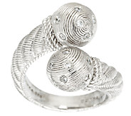 Judith Ripka Sterling Diamonique Accent Bead Bypass Ring - J287375