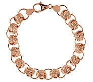 VicenzaGold 8 Textured Status Link Bracelet 14K Gold, 7.5g - J291175