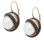 Honora Cultured Pearl 10.0mm & Gemstone Crossover Bronze Earrings - J293975