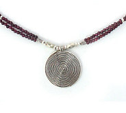 Novica Artisan-Crafted Sterling Garnet Necklace - J304175