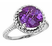 Sterling Silver Checkerboard Faceted Gemstone Ring - J305775