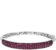 As Is 3.80 ct tw Pave Thai Ruby Sterling Hinged Bangle - J319575