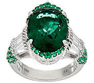 Judith Ripka Sterling Green & White Diamonique Ring - J321775