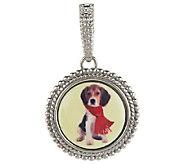 As Is VicenzaSilver Sterling Enamel Dog Portrait Enhancer - J322775