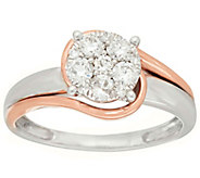 As Is Two-Tone Swirl Cluster Diamond Ring, 14K,1/2ct tw by Affinity - J325375