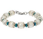 As Is Honora Cultured Pearl 11.0mm and Turquoise Bronze Bracelet - J332075