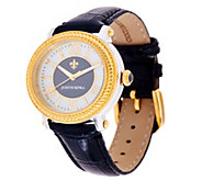 As Is Judith Ripka Two-tone Diamonique Stainless Steel & Leather Watch - J333175