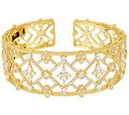 Judith Ripka 14K_Clad 8.40 cttw Diamonique Cuff Bracelet - J333575
