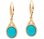 Sleeping Beauty Turquoise Rope Design Leverback Earrings, 14K - J334975