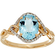 Santa Maria Aquamarine & Pave Diamond Ring, 14K Gold 1.30 ct - J335375