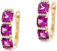 Asscher Cut Purple Rhodolite Garnet Hoop Earrings, 14K - J335575