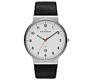 Skagen Mens Black Leather Strap Watch - J336275