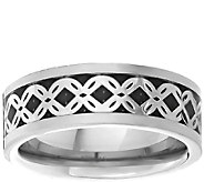 Mens Titanium Band Ring w/Silvertone Braided Inlay - J337875