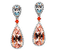 6.85cttw Multi-Gemstone Teardrop Earrings, 14KRose Gold - J338675