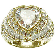 Judith Ripka Sterling & 14K-Clad Diamonique Hea rt Ring - J339375