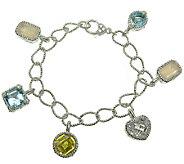 Judith Ripka Sterling 6-3/4 Multi-Gemstone Charm Bracelet - J340575
