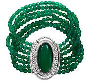 Judith Ripka Sterling Green Chalcedony Bead 6-3/4 Bracelet - J340875