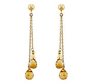 14K Gold Briolette Gemstone Dangle Earrings - J343175