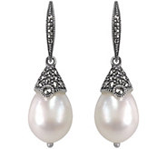 Suspicion Sterling Cultured Pearl & Marcasite Dangle Earrings - J344375