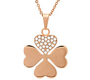 Stainless Steel Crystal Clover Pendant w/ Chain - J344475