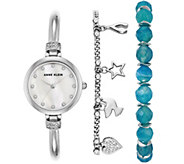 Anne Klein Womens Silvertone Watch and Bracelet Set - J344775