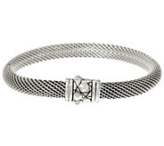 JAI Sterling Silver Mesh Bracelet w/ Croco Texture Clasp - J346475