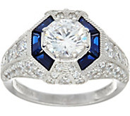 Tova Diamonique and Simulated Sapphire Ring, Sterling - J347075
