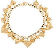 Italian Gold 6-3/4 Heart Charm Bracelet 14K Gold, 9.5g - J348175