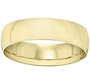 Mens 18K Yellow Gold 6mm Half-Round Wedding Band - J375475