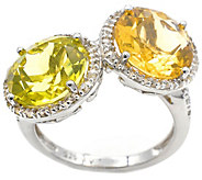 Sterling 6.65 cttw Citrine & Green Amethyst Ring - J376175