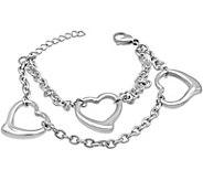 Stainless Steel Open Heart Station Bracelet - J376275