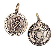 Sterling Saint Christopher /Navy Medal charm - J108276