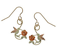 Black Hills Dangling Hummingbird & Rose Earring s, 10K/12K/14K - J109876