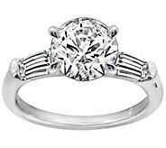 Diamonique 2.50 cttw Round & Baguette Ring, Platinum Clad - J111676