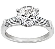 Epiphany Diamonique 2.50 ct tw Round and Baguette Ring