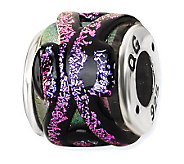Prerogatives Sterling Purple Dichroic Glass Striped Bead - J113376
