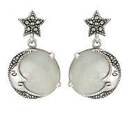 Suspicion Sterling Marcasite Moon & Stars Earrings - J113976