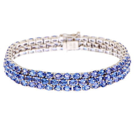 "22.00 ct tw Tanzanite Triple Row 8"" Sterling Tennis Bracelet"