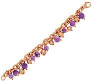 Bronzo Italia Average Bold Amethyst & Bronze Bead Charm Bracelet - J285676