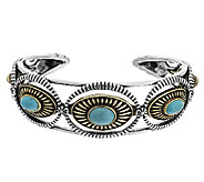 Turquoise Sterling/Brass Cuff by Fritz Casuse - J293376