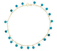 As Is 14K Gold 11 Turquoise Bead Dangle Ankle Bracelet - J296376