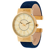 Joan Rivers Denim Hinged Bangle Watch - J296576