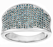 Aqua Pave Saddle Diamond Ring, Sterling, 1/2 cttw, by Affinity - J296776