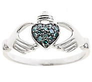 Blue Diamond Claddagh Ring, Sterling, 1/10cttwby Affinity - J310176