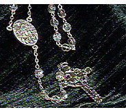 Connemara Marble Iridescent Glass Rosary with Silvertone Cros - J312376