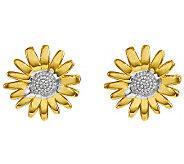 Polished Two-Tone Daisy Stud Earrings, 14K Gold - J313776