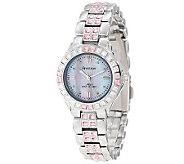 Armitron Womens Pink Swarovski-Accented Silvertone Watch - J313976